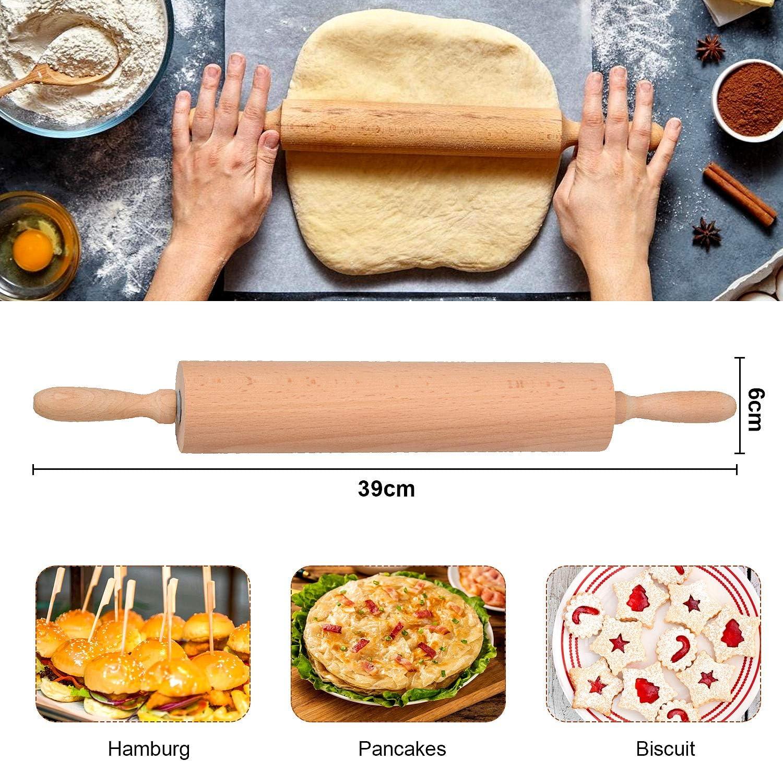 Dolci e Pizza Ravioli Mattarello Legno Mattarello Professionale Mattarello in Legno di faggio per Fare Pasta di Zucchero Biscotti Pasta 39CM * 6CM Tortellini