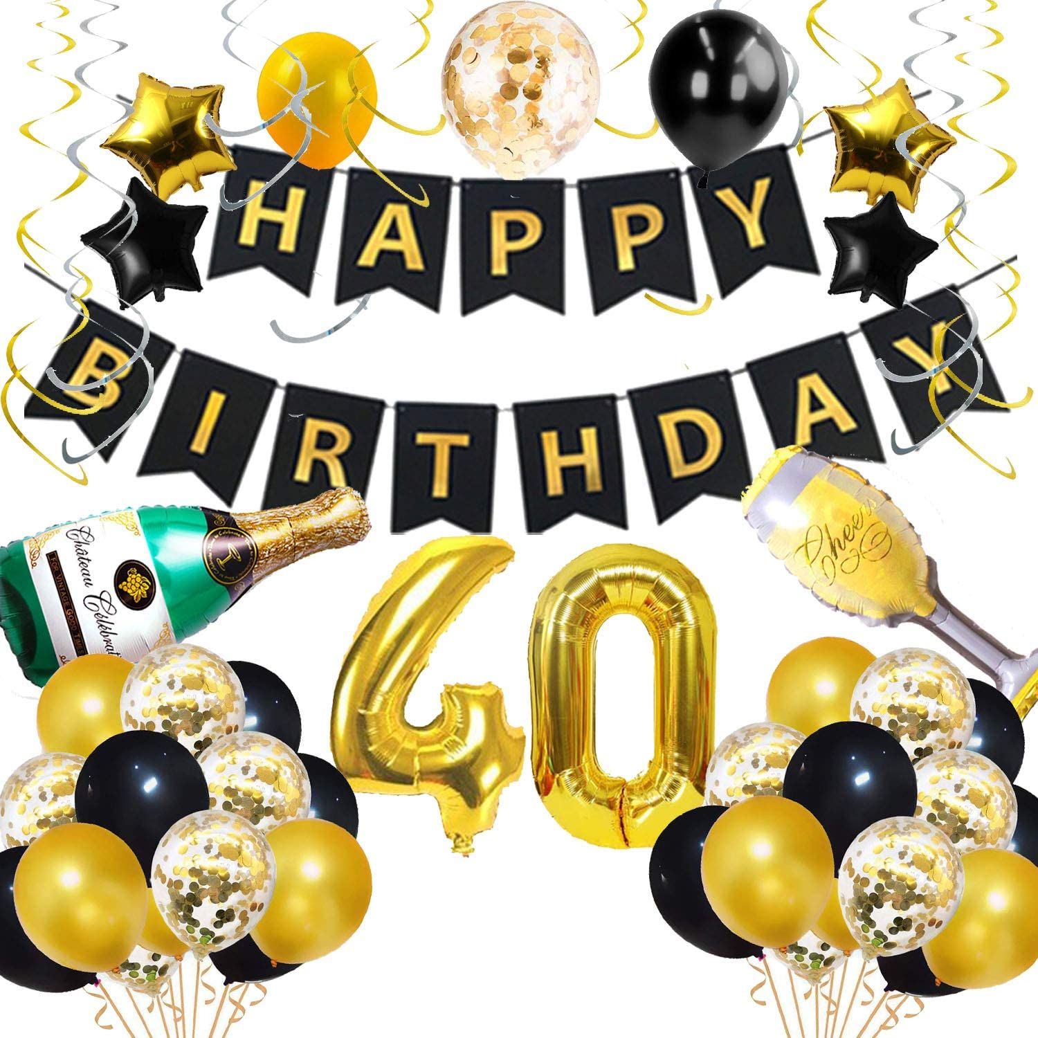 Amazon Com 40th Birthday Decorations For Her Him Men Women Happy Birthday Banner Number 40 Balloons Kit Black Gold Hanging Swirls Party Favors Supplies Gifts Cheers 40th Years Confetti Celebration Kitchen Dining