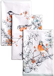 Maison d' Hermine Whitish Shabby Chique 100% Cotton Set of 3 Kitchen Towels Soft Absorbent (20 Inch by 27.5 Inch).