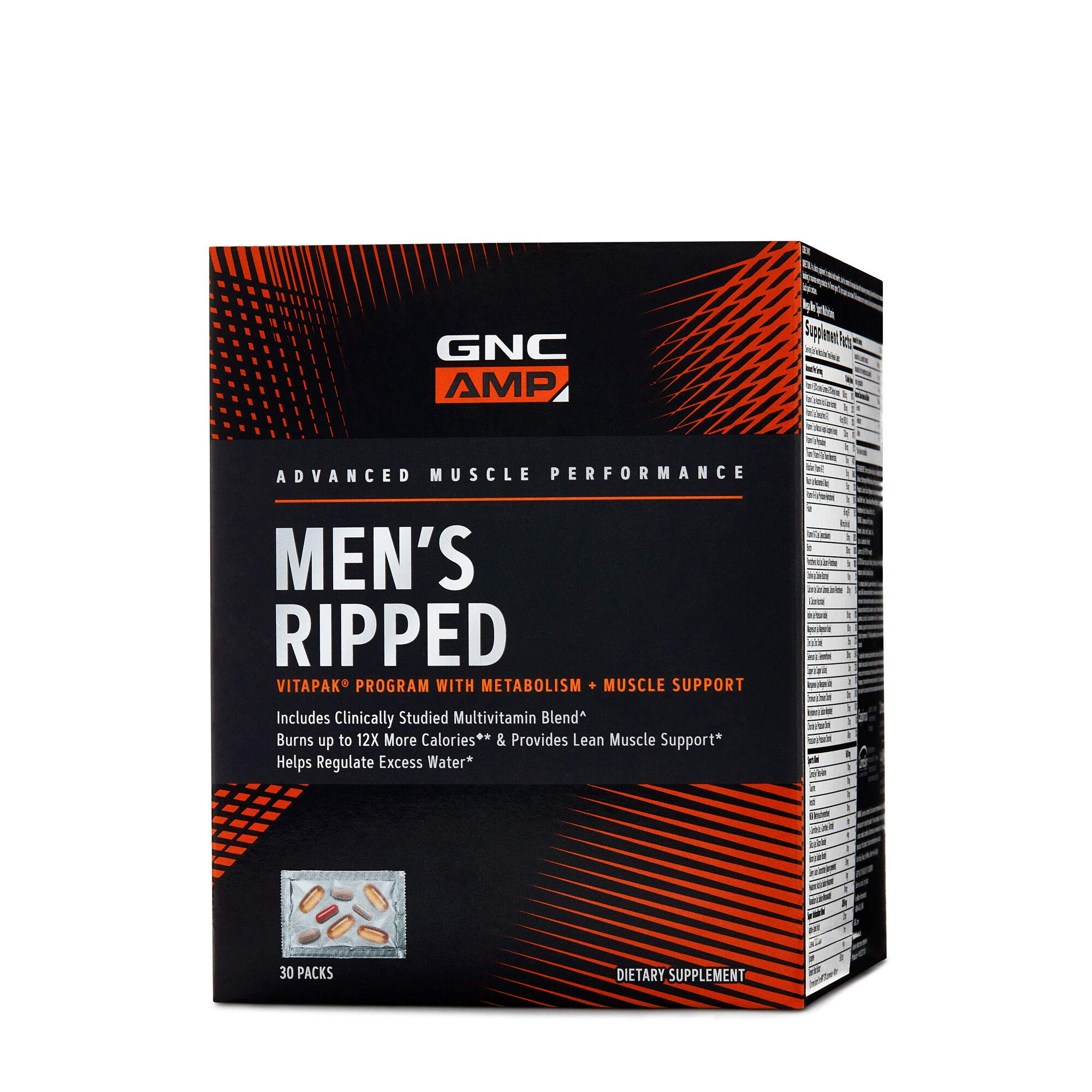 GNC AMP Mens Ripped Vitapak Program, 30 Packs, with Metabolism and Muscle Support by GNC