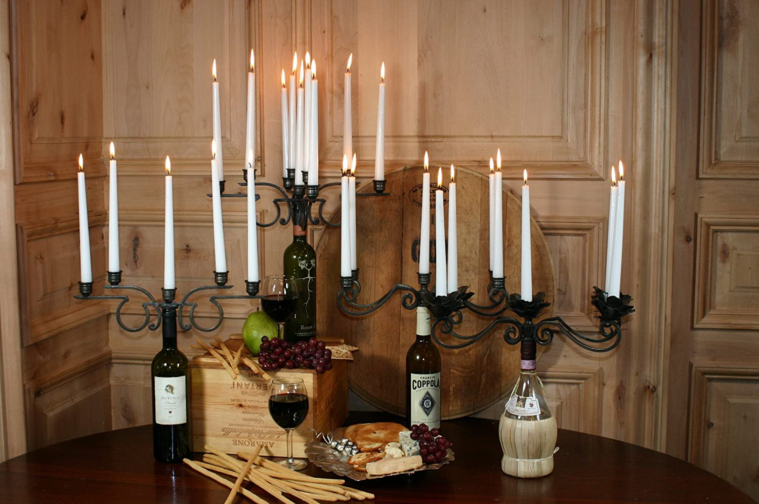 amazon com old river road wine bottle candelabra holds eight