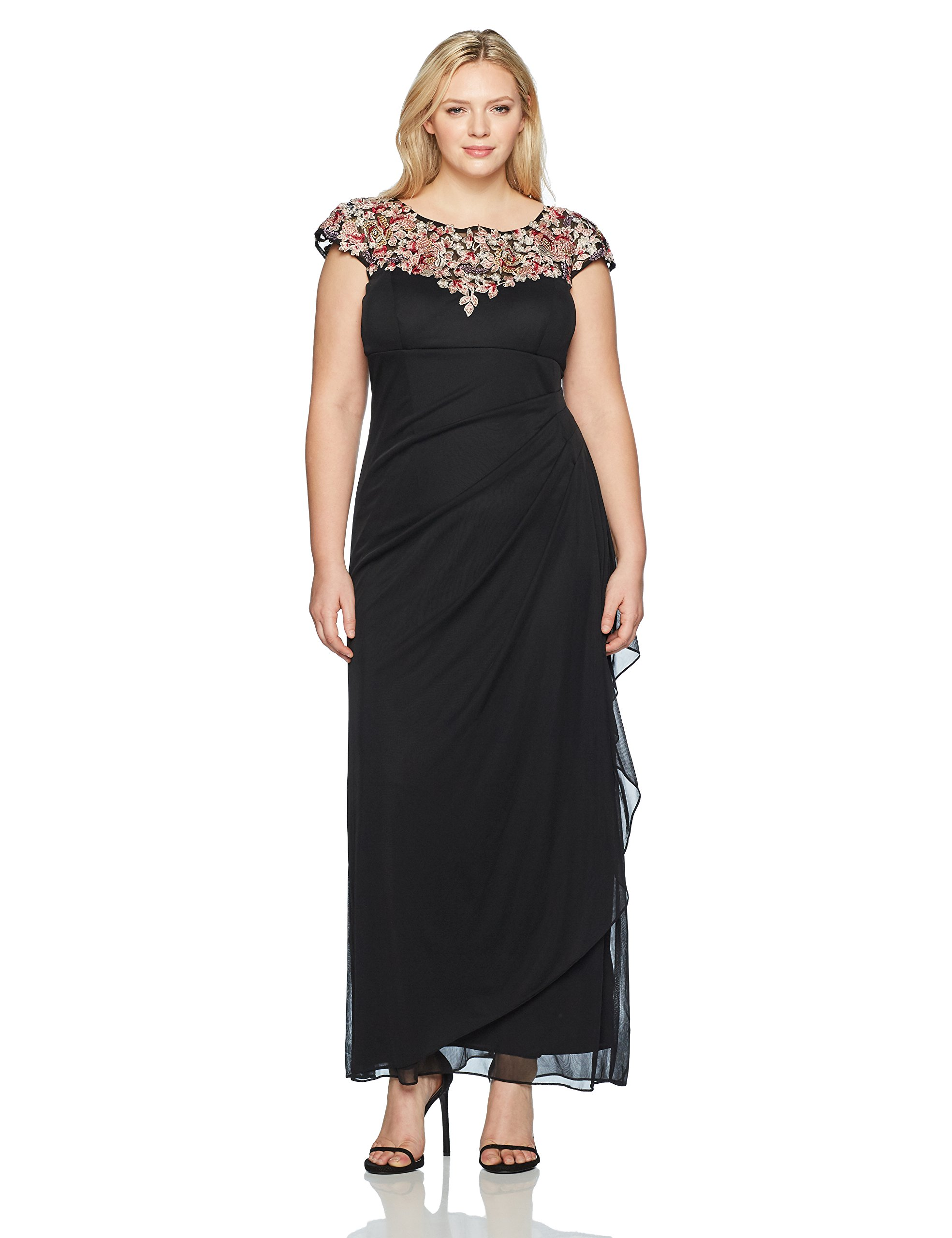 Xscape Women's Plus Size Long Top Embroidery Dress, Black/Multi, 14W by Xscape (Image #1)