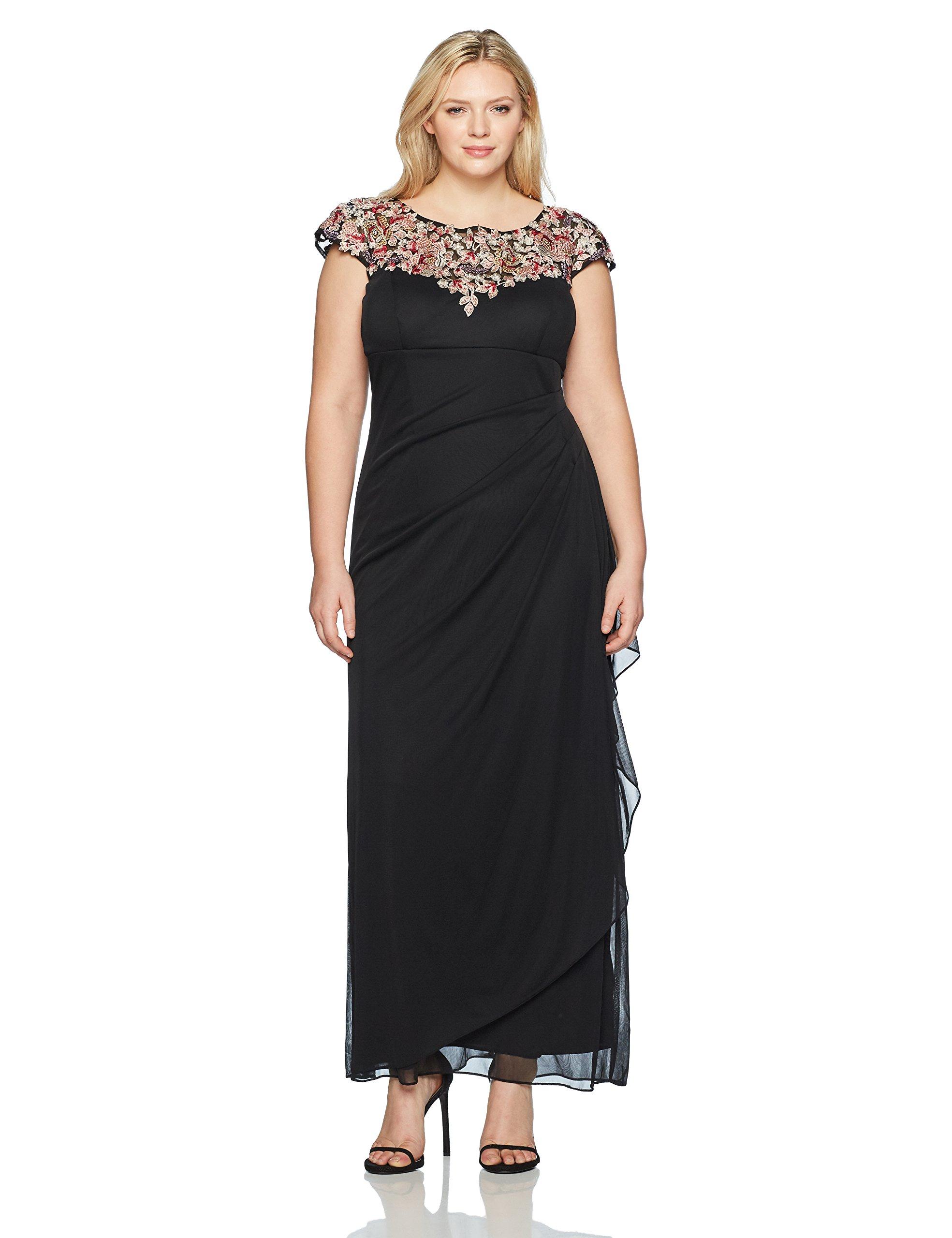 Xscape Women's Plus Size Long Top Embroidery Dress, Black/Multi, 18W
