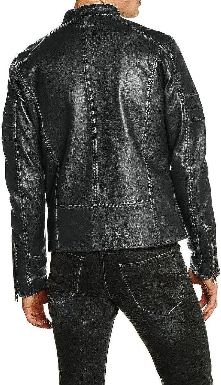 New Mens Leather Jacket Slim Fit Biker Motorcycle Genuine Lambskin Jacket T635