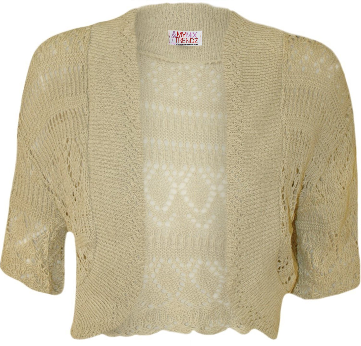 MyMixTrendz - Womens Crochet Knit Midi Sleeve Bolero Shrug (UK 8-12 (EU 36-40 US 4-8), Beige)