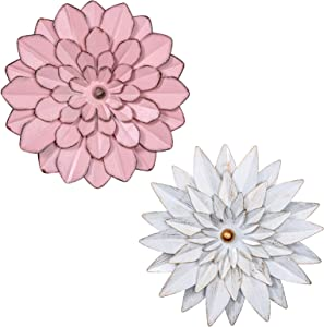 "hogardeck Metal Flower Wall Decor - 13"" Metal Floral Home Decoration for Bedroom, Living Room, Bathroom, Kitchen, Wall Sculptures Outdoor Metal Wall Art, Set of 2"