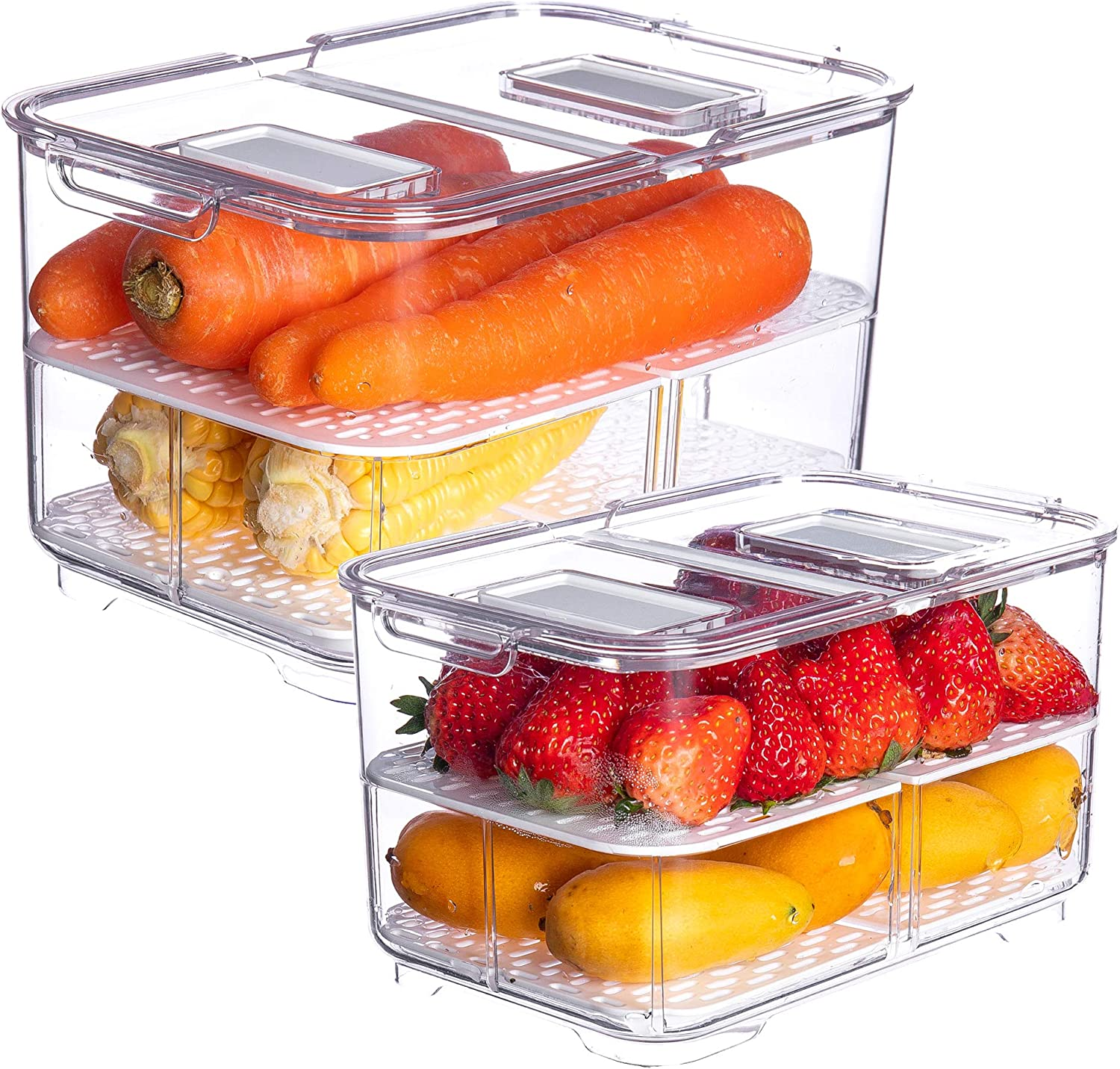 Vegetable Fruit Storage Containers,vacane 2 Piece Set Fresh Produce Saver with Lids and Vents,Partitioned Salad Lettuce Keeper for Refrigerator or Easy Carry,BPA-free Stay Fresh Containers,5.7L/2.8L