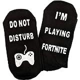 MerchPro Gamer Battle Royale Crew Socks - Gamer Gift - Do Not Disturb Unisex - Fortnite Gamers Black