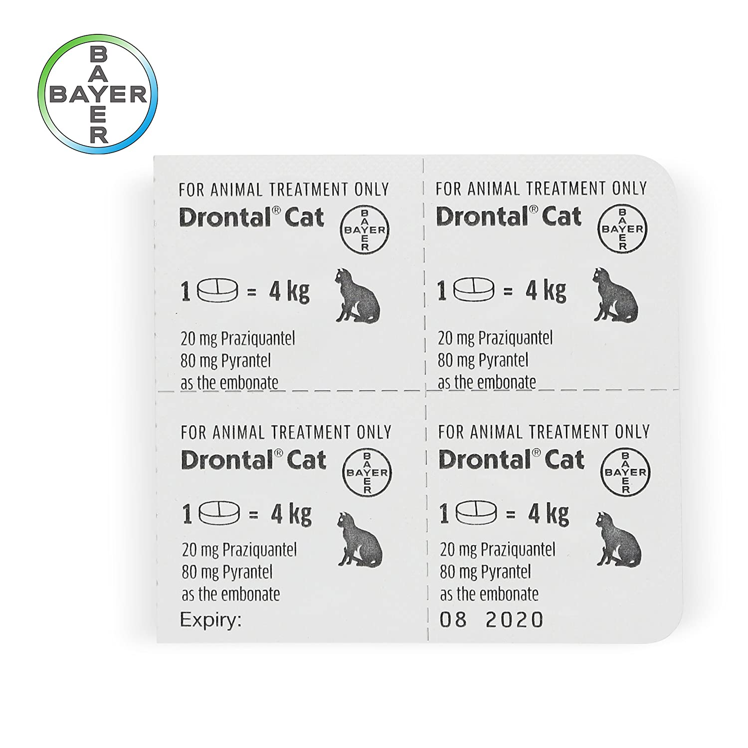 Cat dewormer all worms ,Tapeworm and Round Worm , 4 Tablets.