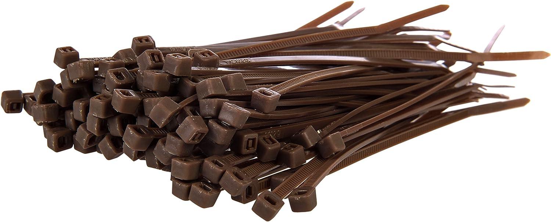 Gocableties - Bridas de nailon para cables de alta calidad y resistencia, color negro, de 200 x 4,8 mm, paquete de 100 unidades, marrón, .
