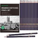 MUJINHUA Professional Drawing Sketch Pencils Set, 15 Pieces Drawing Graphite Pencils(12B, 10B, 8B, 6B, 5B, 4B, 3B, 2B, B, HB,