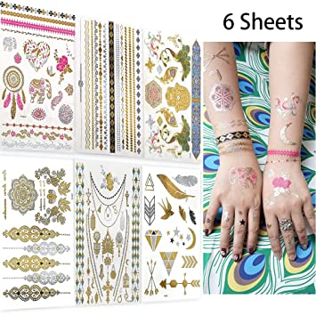 44ad63ad5d30b Metallic Temporary Tattoos for Women Teens Girls, AooHome 6 Large Sheets  -Over 75 Color