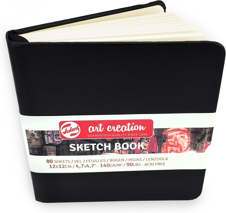 140 g//m/² color negro Cuaderno de dibujo con tapa dura 80 hojas 12 x 12 cm Royal Talens