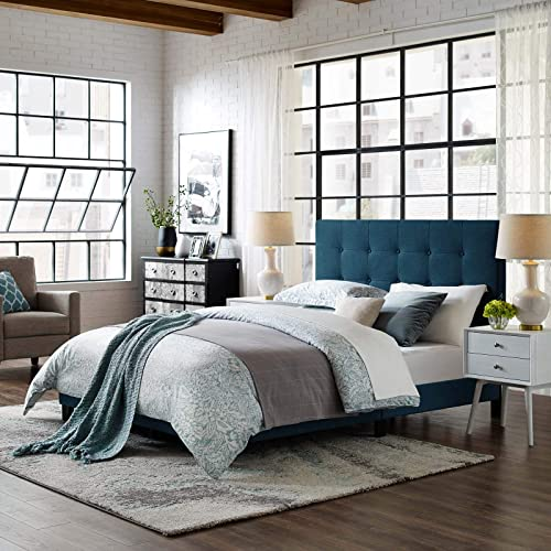 Modway Melanie Tufted Fabric Upholstered Queen Platform Bed in Azure