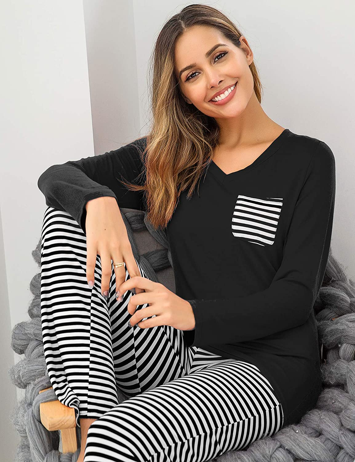 Hotouch Striped Pajama Sets Womens Long Sleeve and Full Pants Sleepwear Set