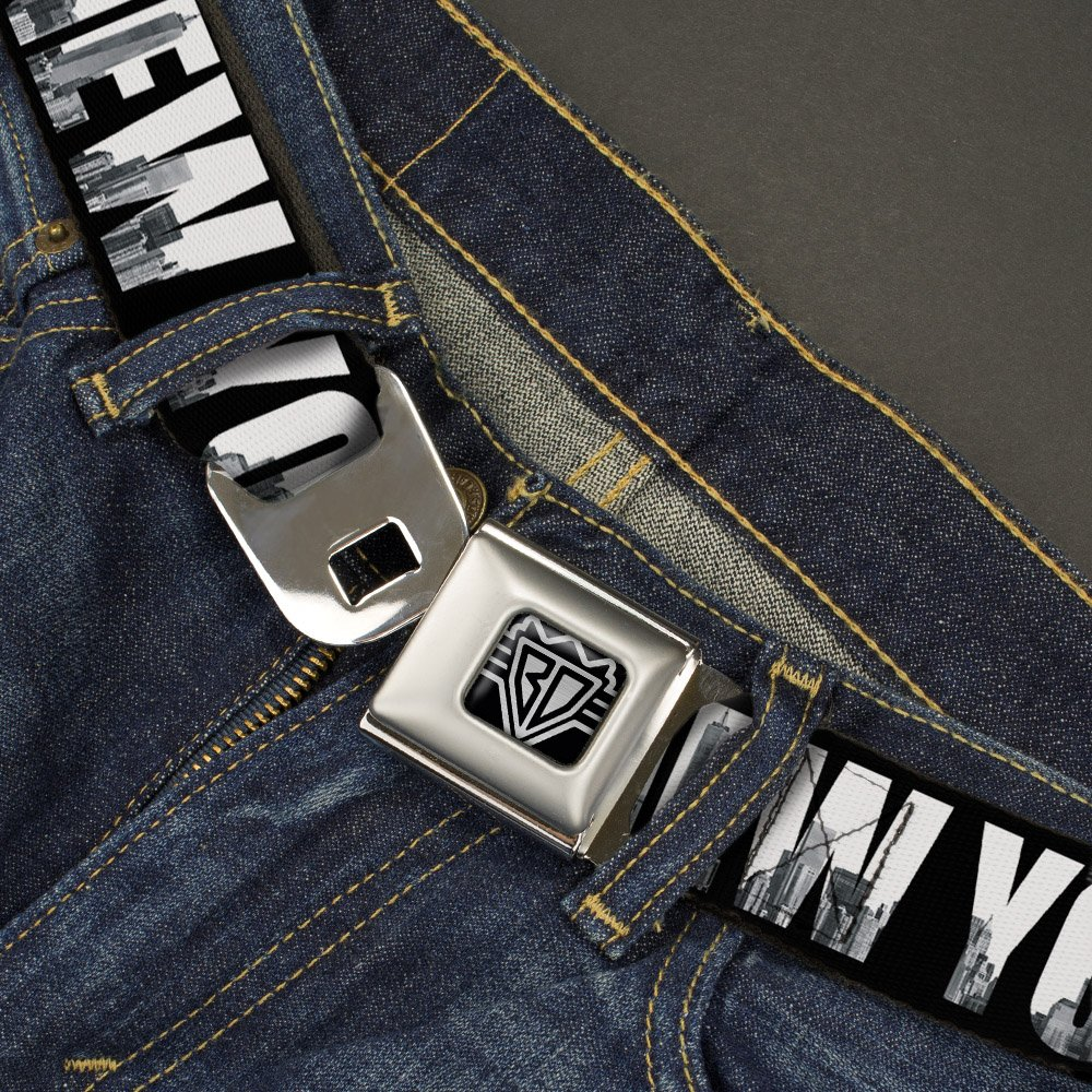 20-36 Inches in Length 1.0 Wide Buckle-Down Seatbelt Belt NEW YORK Bold//Vivid Skyline Black//White//Tonal Grays
