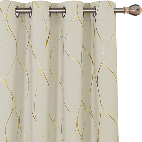 Deconovo Gold Wave Printed Thermal Insulated Blackout Curtains Room Darkening Energy Saving Panel Grommet Drapes - a good cheap window curtain panel