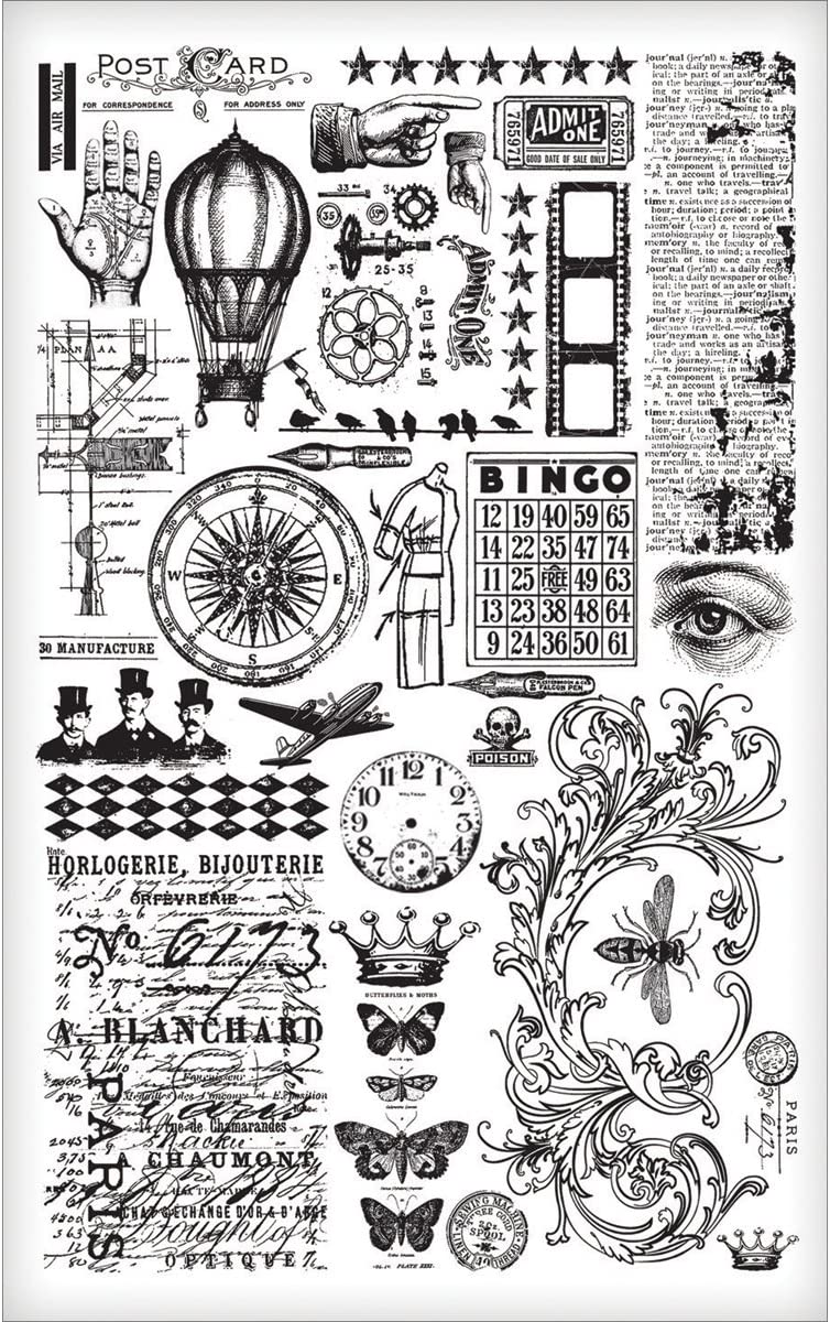 2 Sheets TH93057 5 x 7 Inches Black//White Elements Remnant Rubs by Tim Holtz Idea-ology