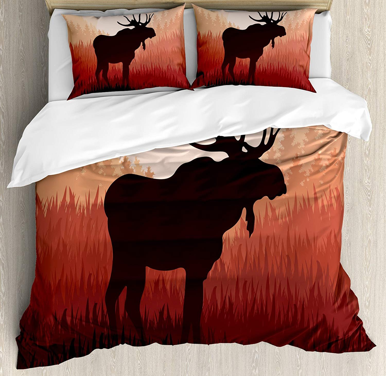 Duvet Cover Set Moose Antlers in Wild Alaska Forest Rusty Abstract Landscape Design Deer Theme Woods Ultra Soft Breathable Durable Twill Plush 4 Pcs Bedding Sets for Kids/Teens/Adults Twin Size