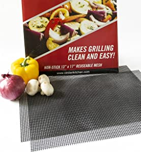 Grill Mats: Extra Large BBQ Mat Replaces Vegetable & Fish Grill Basket, Pizza Screen   Heavy Duty PFOA Free Nonstick Barbecue Grill Mesh Tray for All Size Grills, Smokers, Oven   13 x 17 , Cut to Fit