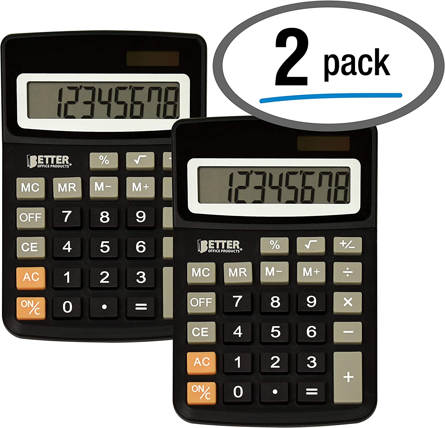 Desktop Calculators, Handheld Angled 8-Digit LCD Display, 2 Pack, by Better Office Products, Standard Function, Black, Dual Power with Included Button Battery, 2 Pack