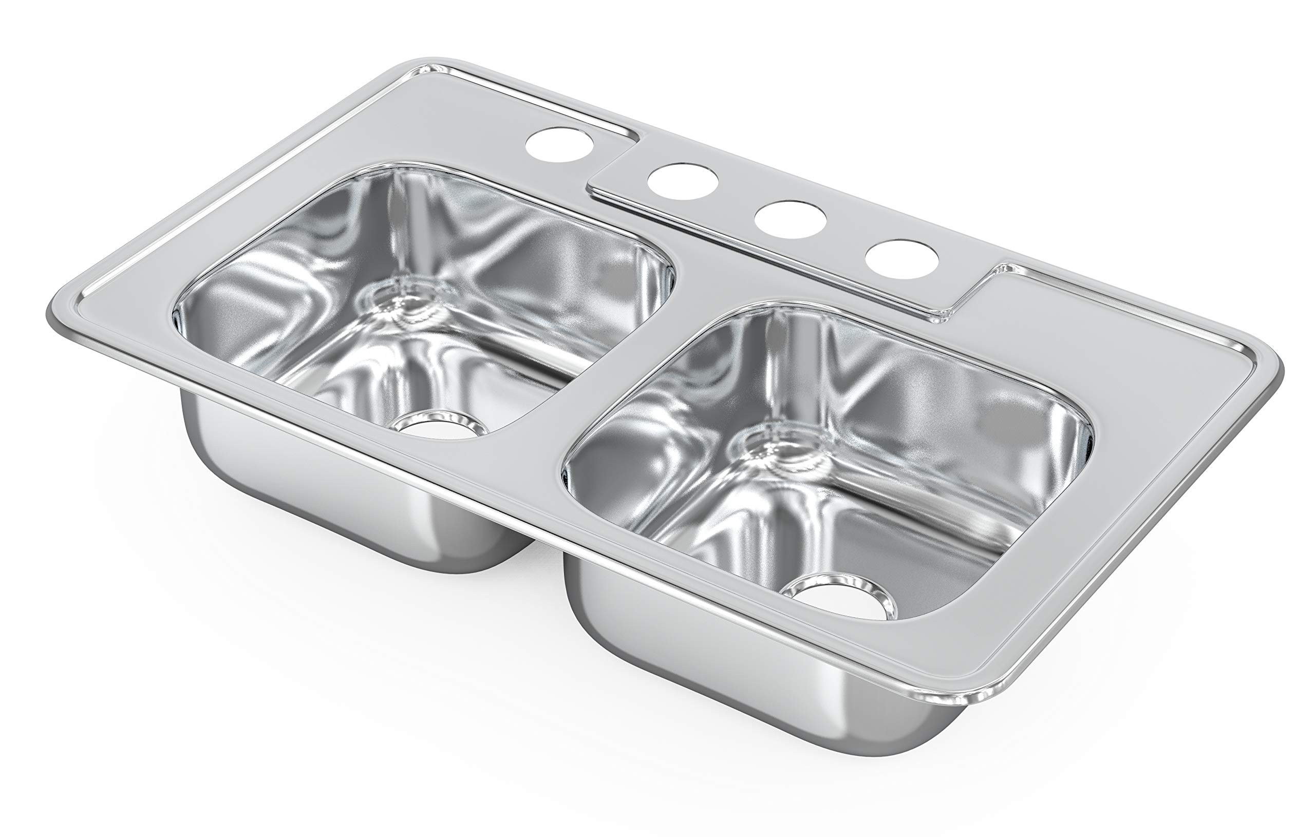 CMI Drop In Kitchen Sink - 33'' x 22'' x 8'' 18 Gauge Stainless Steel Sinks - Top Mount Self-Rimming Double Bowl Design