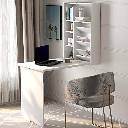 SSLine Wall Mounted Table,Fold Out Multi-Function Computer Desk,Convertible Desk Writing Desk