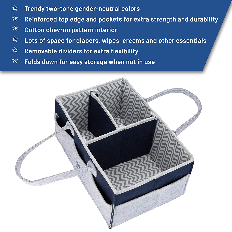 Storage Basket for Nursery Changing Table Large Portable Car Travel Tote Carrier Shower Gift Gender Neutral Felt Bag for Girls Boys Newborn Registry Must Haves Baby Diaper Caddy Organizer