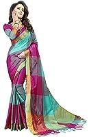 Perfectblue Women's Cotton Silk Saree With Blouse Piece (Zikkattvariation) (Majentaskyblue)