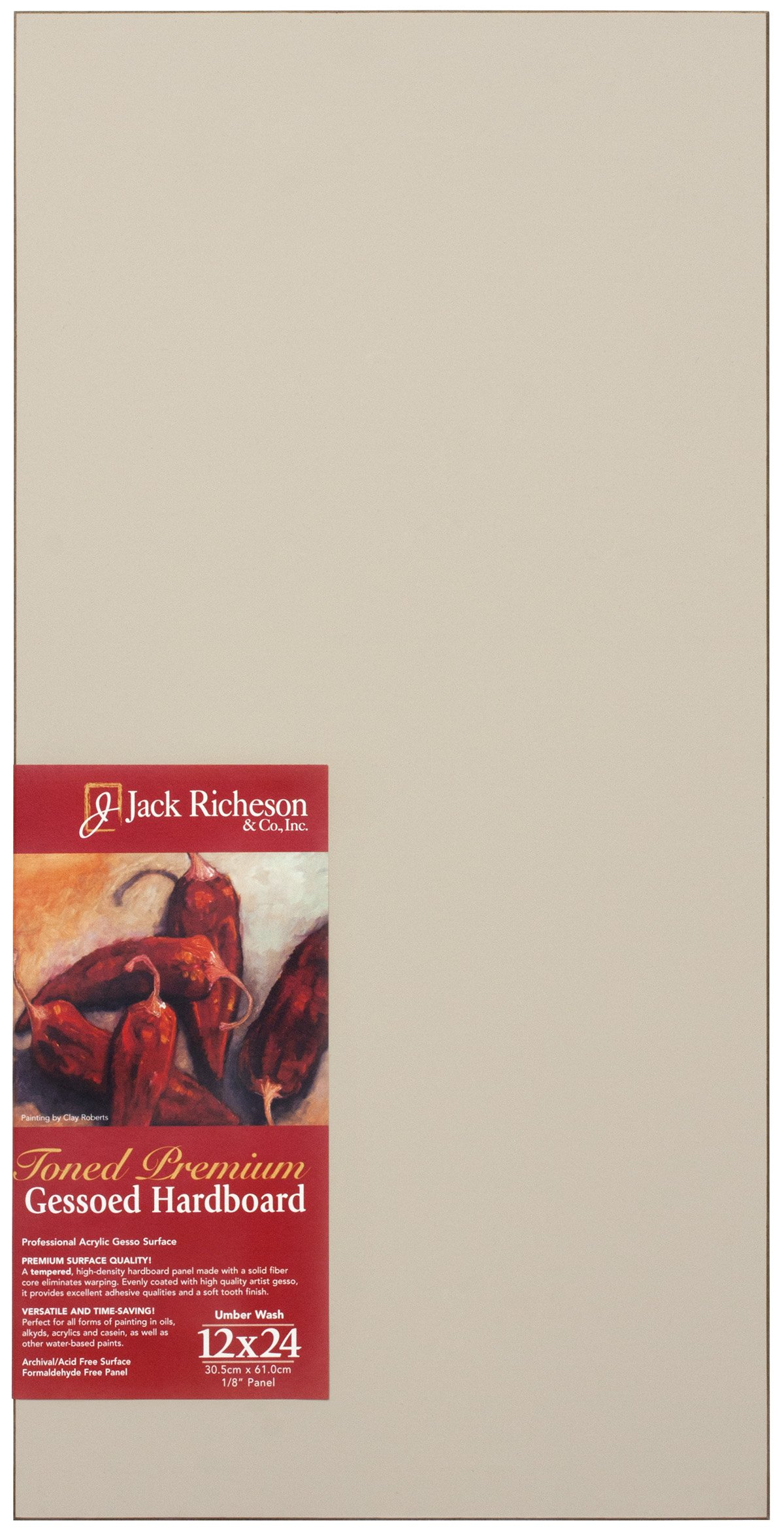 Jack Richeson Richeson Umber Wash Toned Gessoed 1/8'' Hardboard 12''x24'' by Jack Richeson