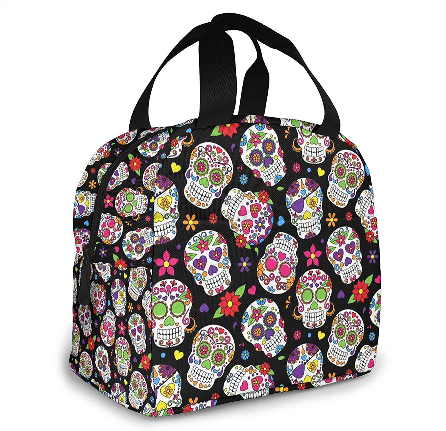 AHOOCUSTOM Lunch Bags, Day of The Dead Sugar Skull Insulated Lunch Box, Reusable Cooler Tote Bag Waterproof Lunch Holder for Women & Men Work Picnic or Travel