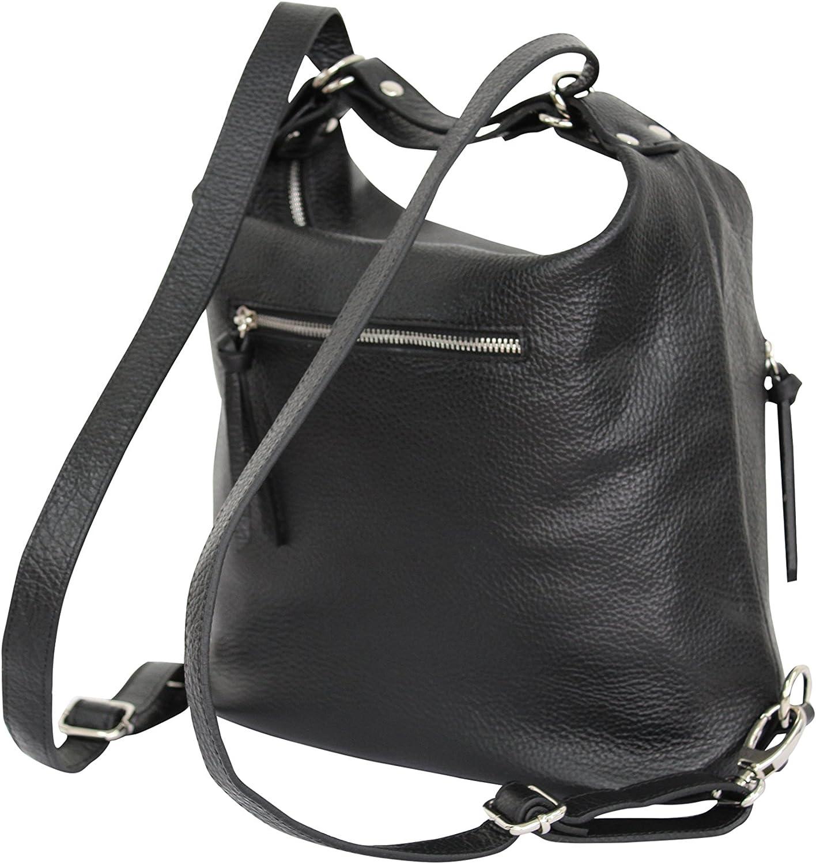 AMBRA Moda italien sac à dos pour femmes, sac à dos de ville en cuir véritable, 2 en 1 sac à dos décontracté, sac épaule GL016 Gris Foncé