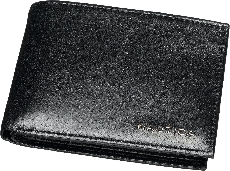 Nautica Men/'s Weatherly Organizer Genuine Black Leather Bi-Fold Wallet