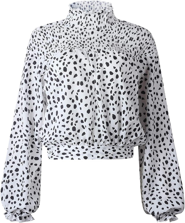 Manga Larga Manga de Obispo Bajo de Volante Volantes Fruncido Frunces Cuello Alto Subido Leopardo Blusón Blusa Camisa Top: Amazon.es: Ropa y accesorios