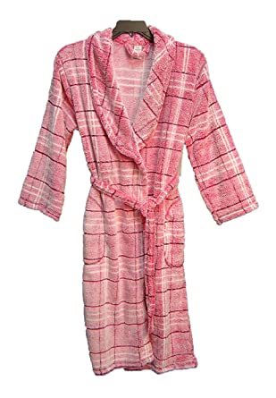 JACLYN INTIMATES Ultra Soft Plush Flecked Checked Pink Fleece WRAP ... 76f96b3bb