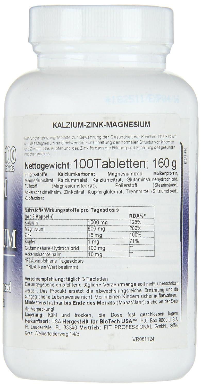 Biotech USA Calcium Zinc Magnesium, Vitaminas y Minerales - 1000 gr: Amazon.es: Salud y cuidado personal