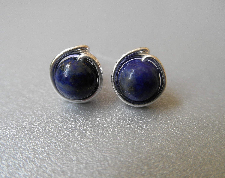 Ohrstecker aus dem Edelstein Lapis Lazuli versilbert