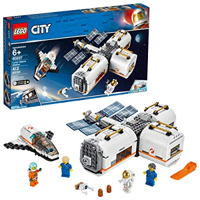 LEGO City Space Lunar Space Station 60227 Space Station Building Set with Toy Shuttle, Detachable Satellite and Astronaut Minifigures, Popular Space Gift (412 Pieces): Toys & Games