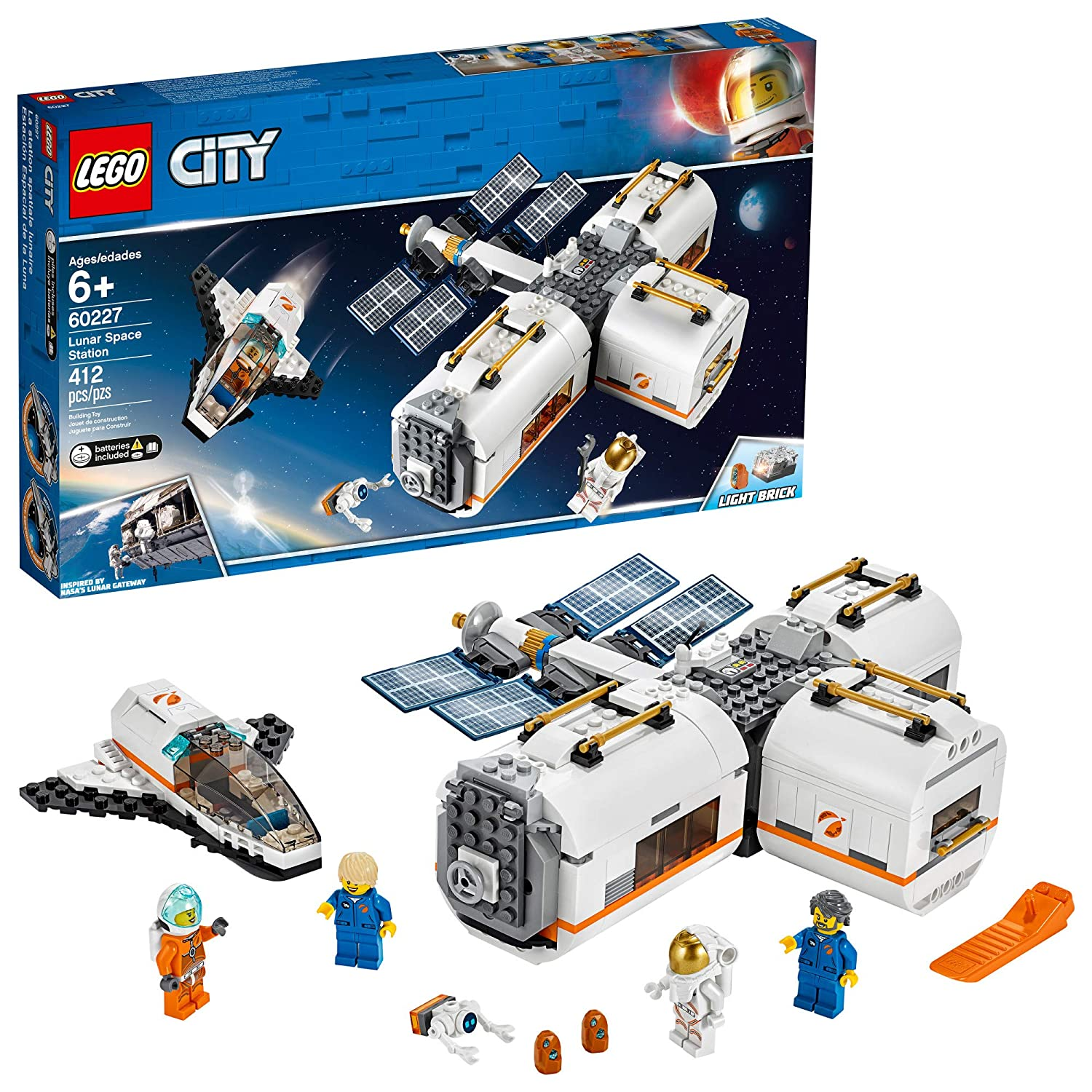 LEGO City Space Lunar Space Station 60227 Space Station Building Set with Toy Shuttle, Detachable Satellite and Astronaut Minifigures, Popular Space