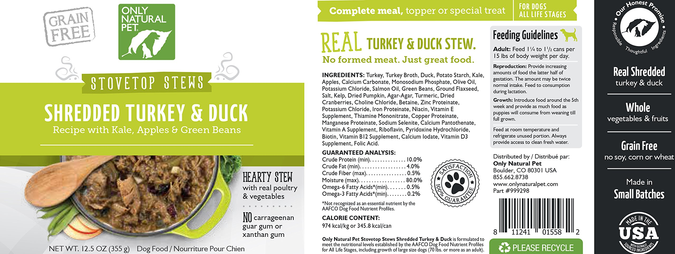 Only Natural Pet Stovetop Stews Grain-Free, Premium Wet Canned Dog Food, Shredded Turkey & Duck Stew 12.5 oz Cans (Pack of 12) by Only Natural Pet (Image #4)