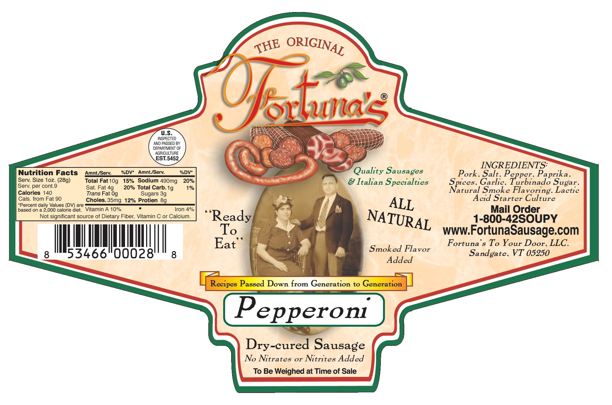 BUNDLE:All Natural, Nitrate Free Dry Cured Pepperoni 3 packs-{9oz. Pkg 2 Sticks Per Package