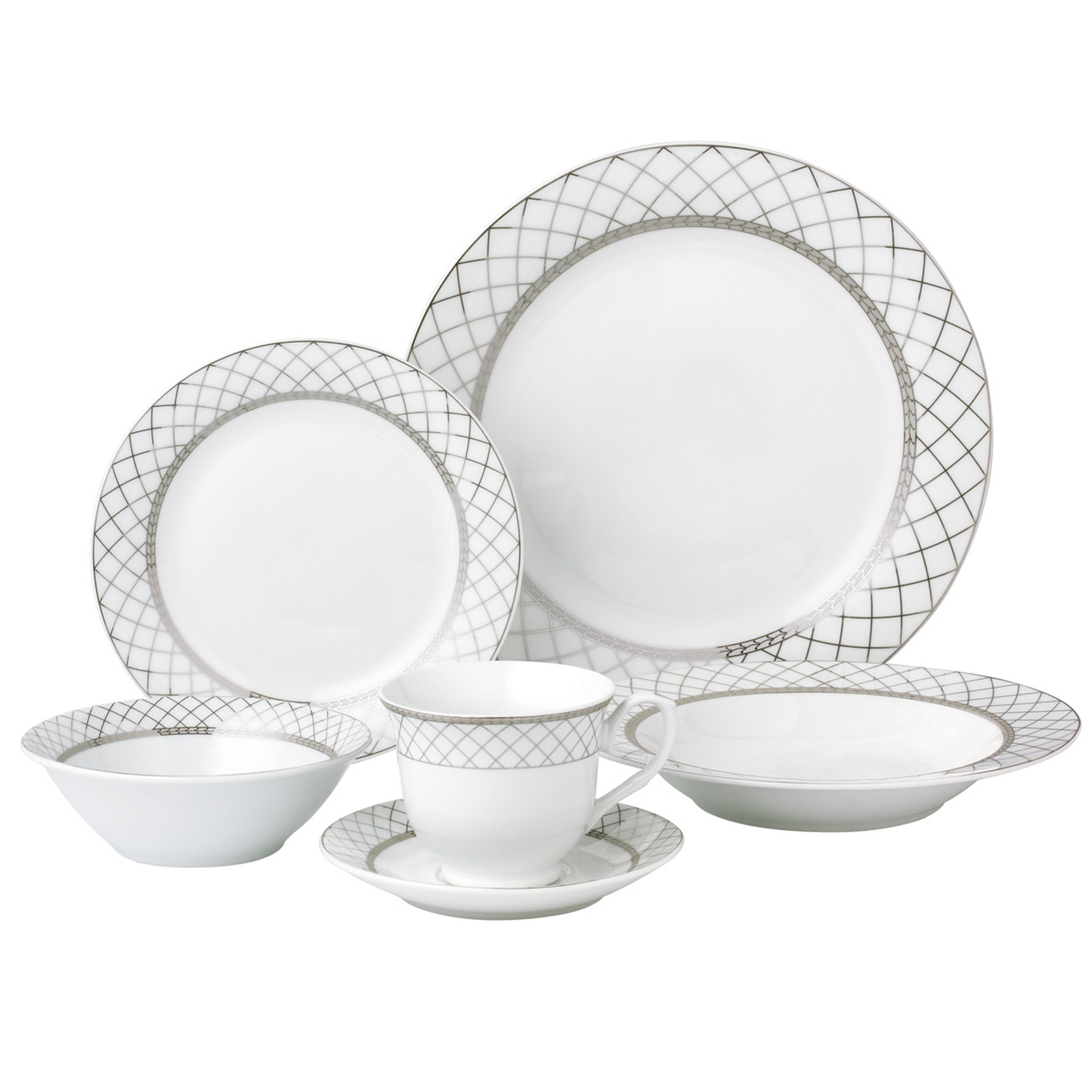 Lorren Home Trends 24 Piece Porcelain Dinnerware Set Verona, Silver - LH419