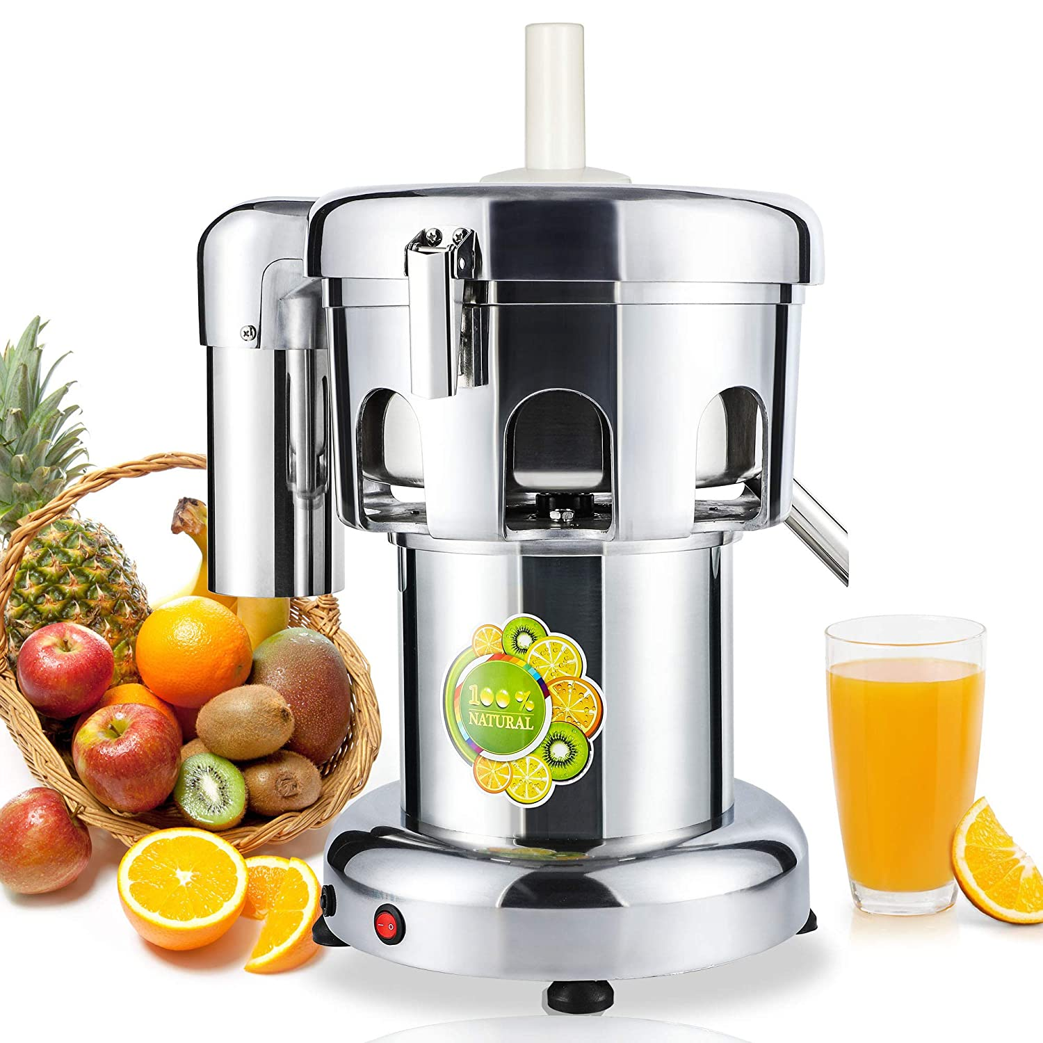 NEWTRY Commercial Juice Extractor for Restaurant 260lb/h Fruit Vegetable Residue Separation Squeezer Machine 550W Heavy Duty Centrifugal Electric 304 Stainless Steel Juicer 110V