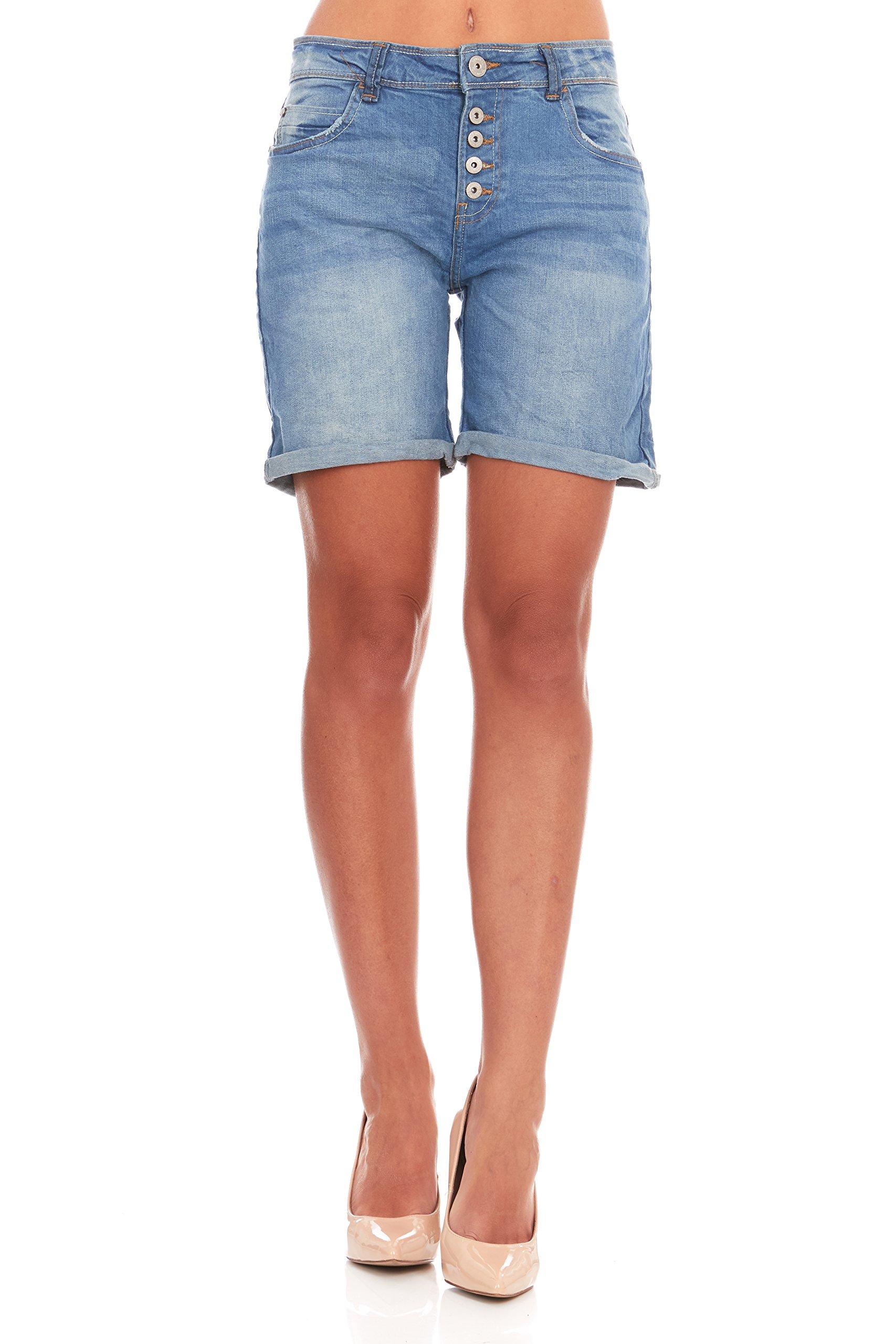 Nextex Apparel Group Women's Casual Stretchy Mid Waist Blue Denim Bermuda Jean Shorts (Medium)