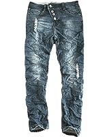 Eight2Nine Herren Jeans Slanted Button Fly 5 Pocket Style destroyed parts Herrenhose by SKR