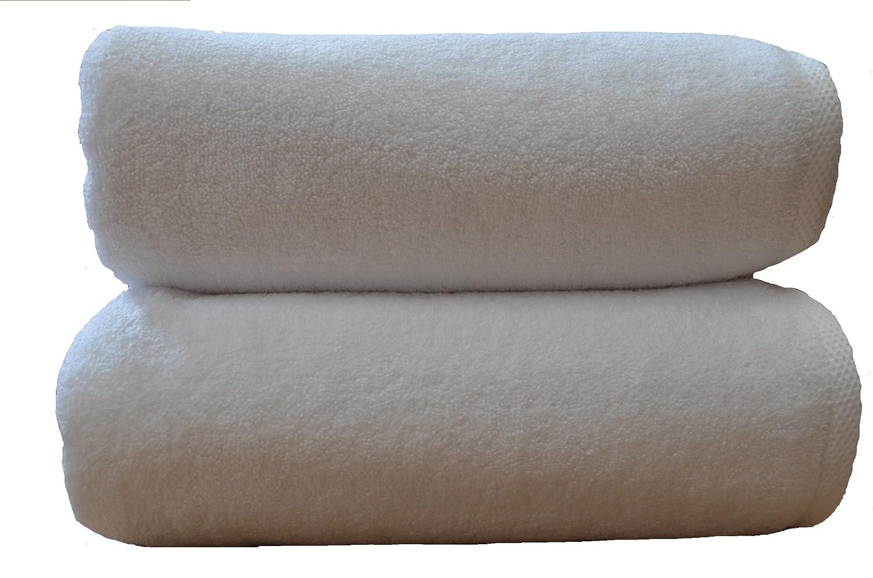 2 toallas de baño de lujo 100x150 cm, 850 g/m2, 100% de algodón peinado egipcio de cero torsión, ultrasuave BLANCO: Amazon.es: Hogar