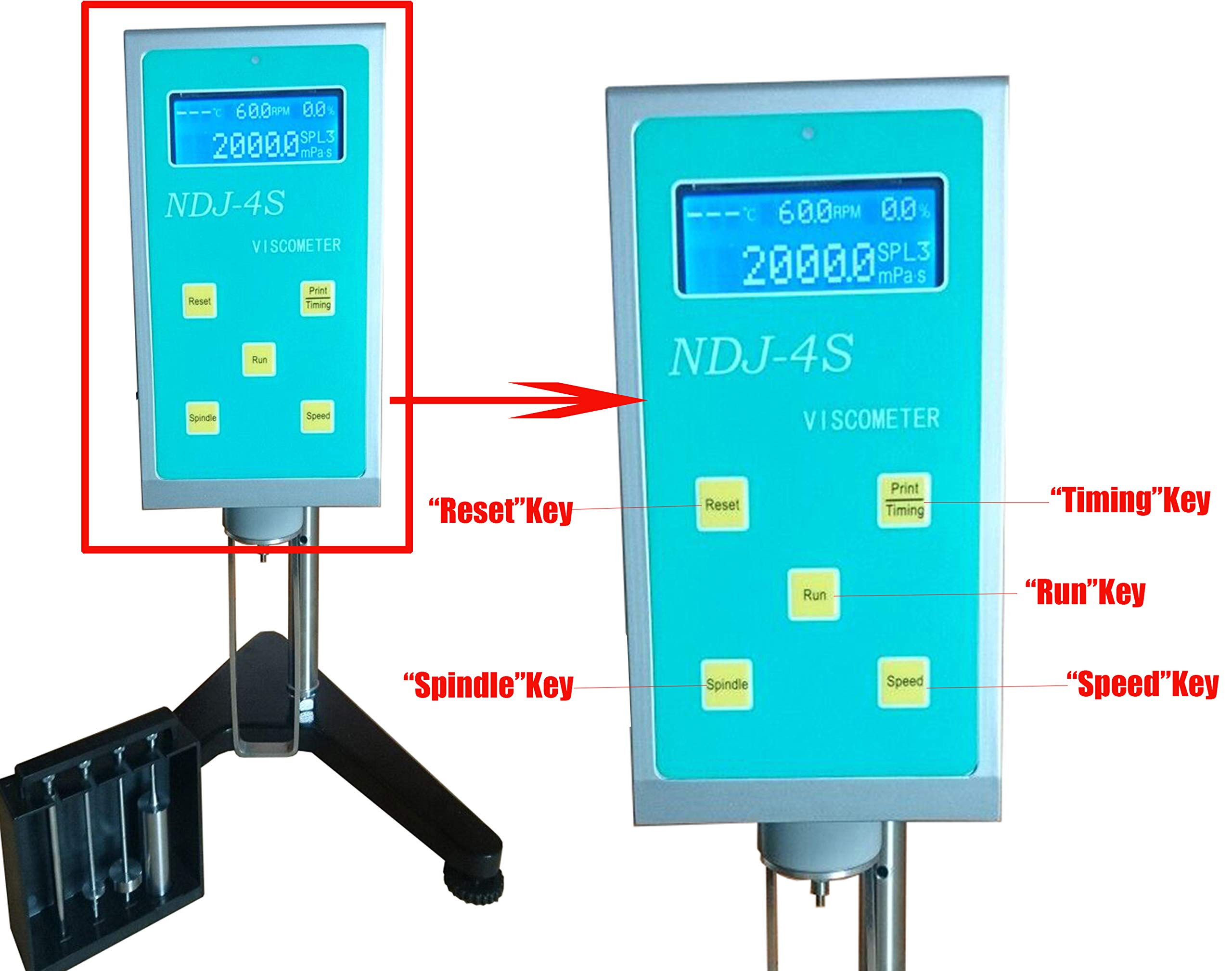 HFBTE Rotational Viscometer Viscosity Meters with 20~200000mPa.s Measurement Range Directly Display Rotating Speed Rotor Number and Maximum Viscosity Measured by HFBTE