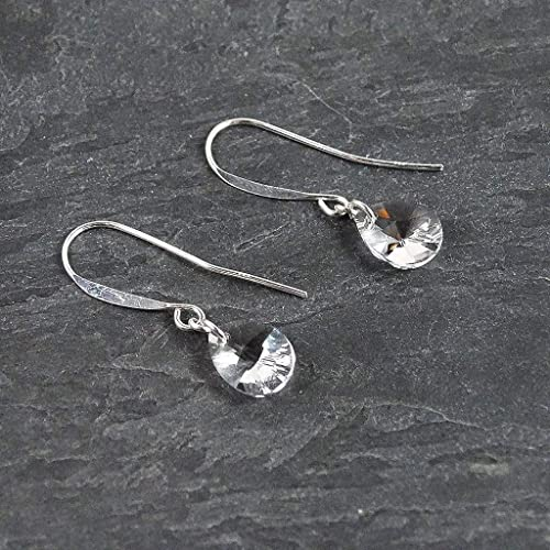 0fcdac549 Amazon.com: Crystal Small Teardrop Sterling Silver Dangle Earrings Jewelry  Gift for Women: Handmade