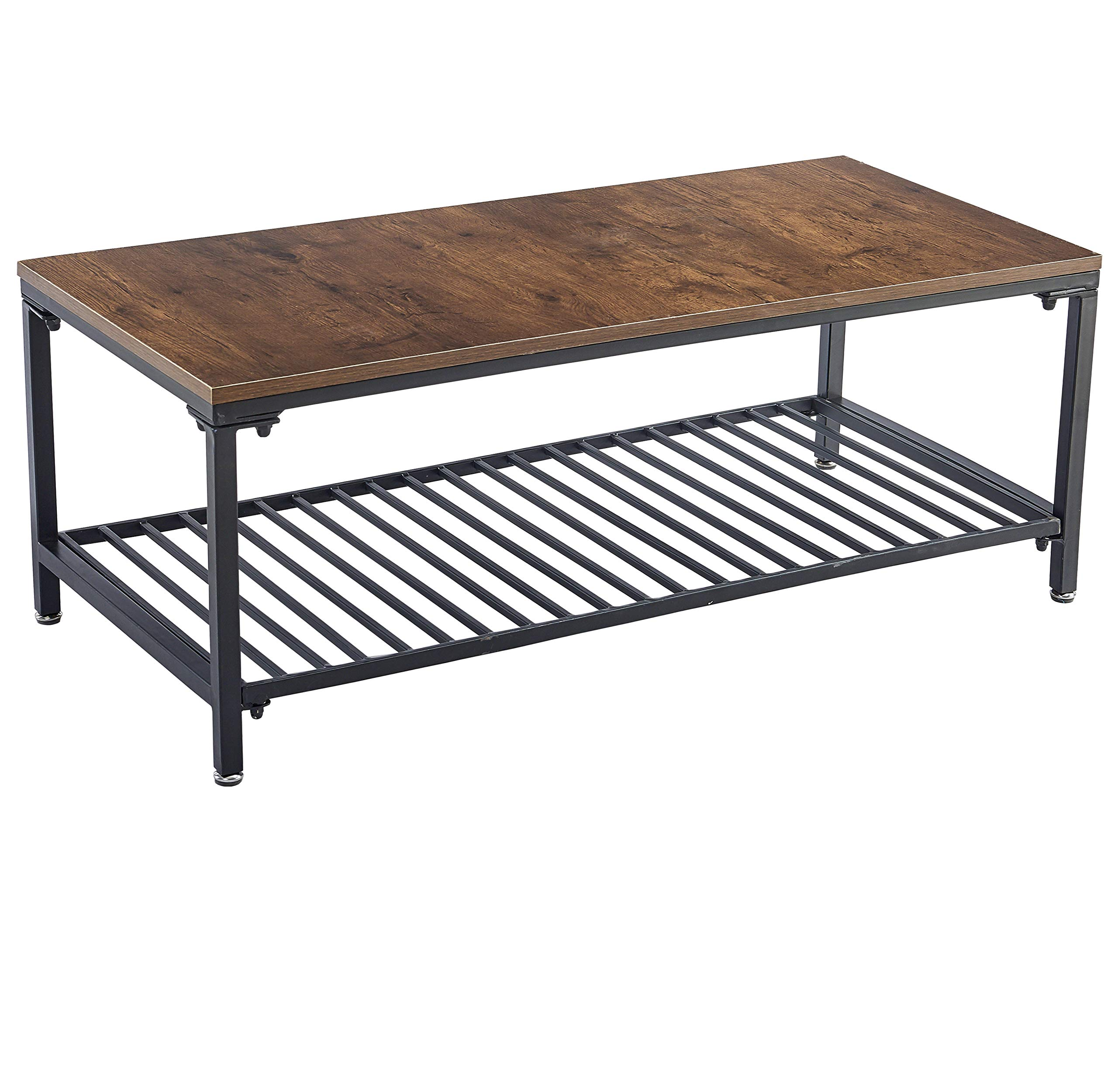 Loglus Coffee Table/Cocktail Table with Metal Shelf for Living Room,Easy Assembly -  - living-room-furniture, living-room, coffee-tables - 81VuLnYw%2BHL -