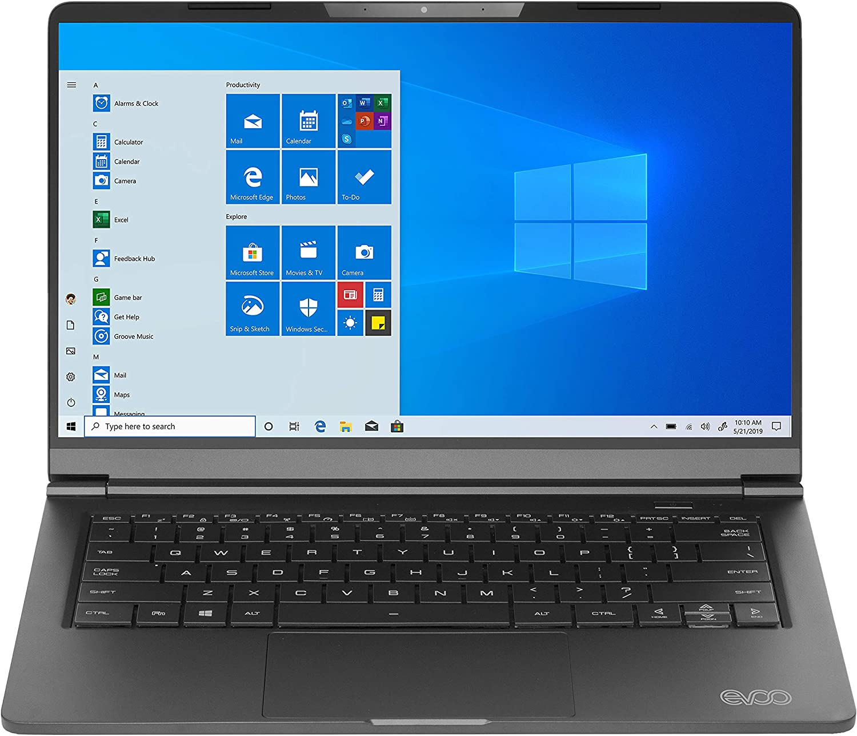 "EVOO 14.1"" Ultra Slim Notebook - Elite Series, FHD Display, AMD Ryzen 5 3500U Processor with Radeon Vega 8 Graphics, 8GB RAM, 256GB SSD, HD Webcam, Windows 10 Home, Black"